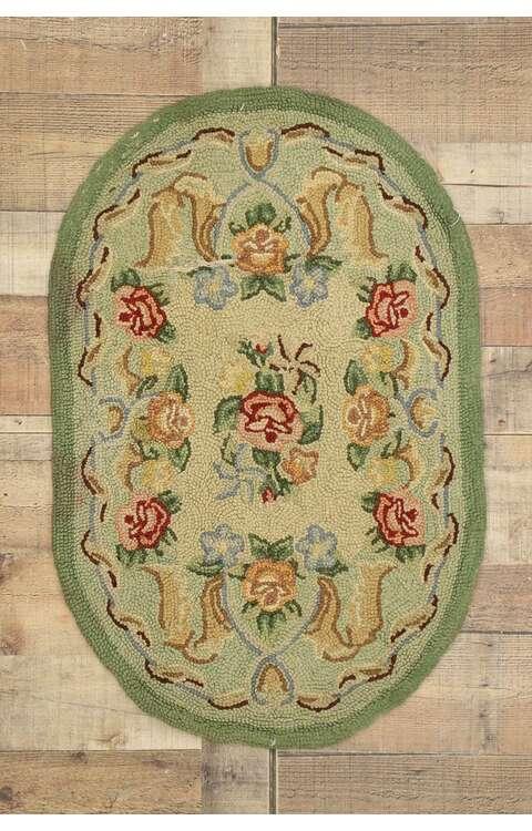 2 x 3 Antique Floral Hooked Rug 71006
