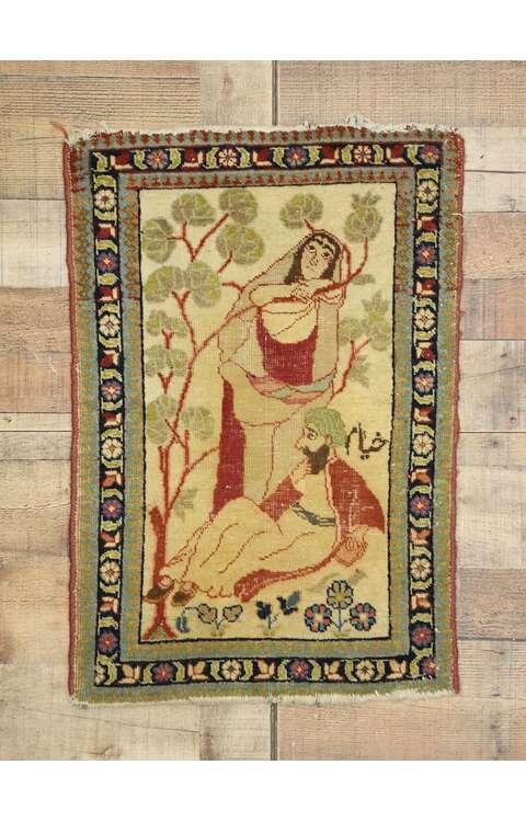 2 x 2 Antique Tabriz Pictorial Rug 71535