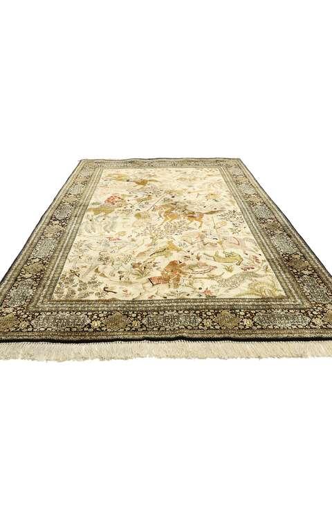 5 x 7 Vintage Persian Qum Rug 77512