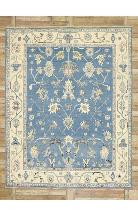 9 x 12 Contemporary Blue Oushak Rug 80596