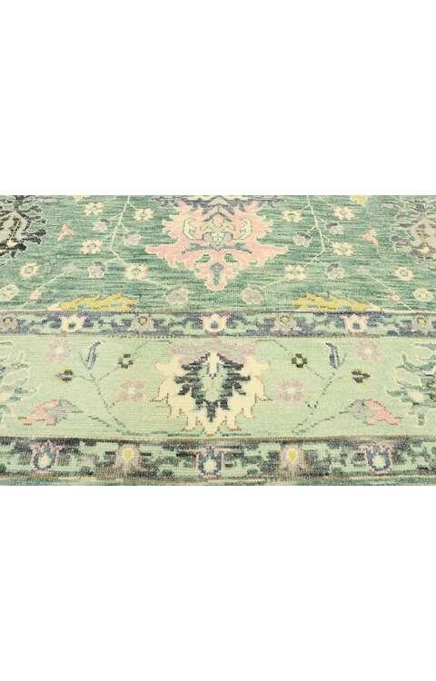 9 x 12 Contemporary Green Oushak Rug 80598