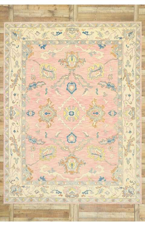 9 x 12 Contemporary Pink Oushak Rug 80604