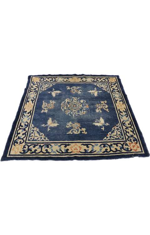4 x 4 Antique Chinese Art Deco Rug 77561