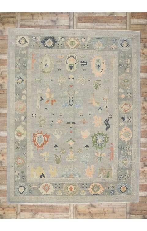 10 x 13 Contemporary Turkish Oushak Rug 53500