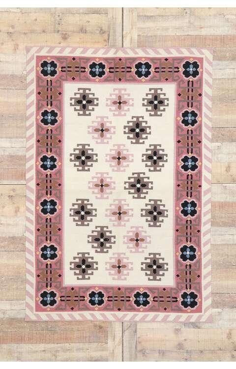 4 x 6 Vintage Romanian Kilim Rug 77804