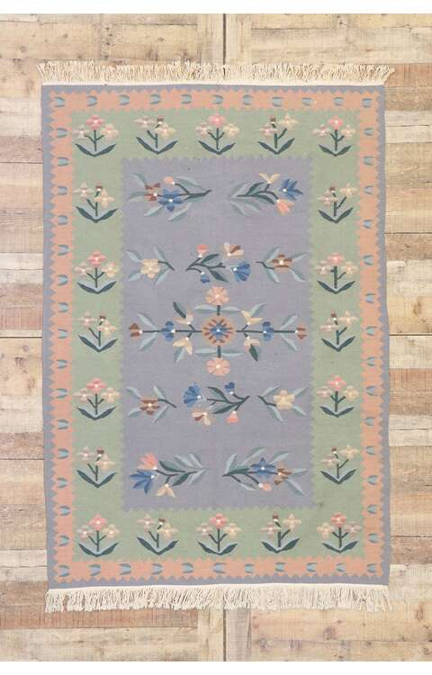 4 x 6 Vintage Floral Kilim Rug 77818