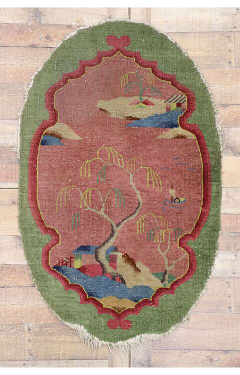 3 x 5 Antique Chinese Art Deco Oval Rug 77615