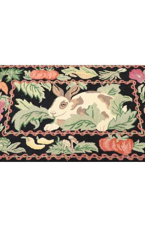2 x 4 Vintage Garden Rabbit Hooked Rug 77854