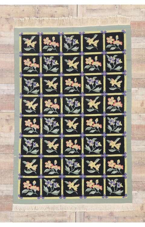 4 x 6 Vintage Chinese Floral Kilim Rug 78026