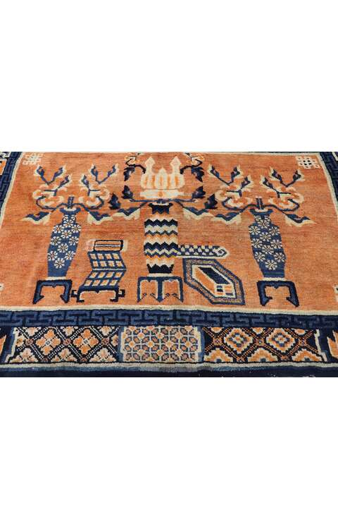 4 x 7 Vintage Chinese Baotou Vase Pictorial Rug with Chinese Chippendale Style 78027