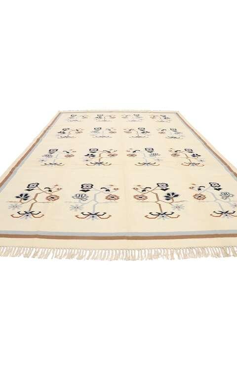 9 x 12 Vintage Chinese Floral Kilim Rug 78057